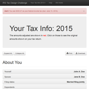 Tax Design Challenge Submission, IRS Tax Design Challenge, thumbnail
