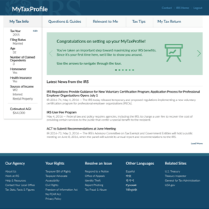 Tax Design Challenge Submission, MyTaxProfile, thumbnail
