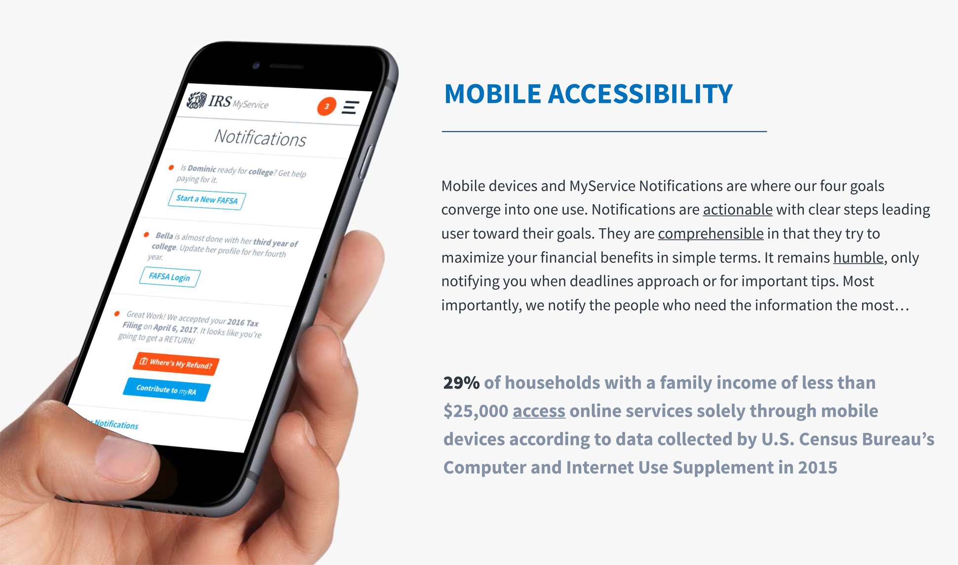 A page from a tax design challenge submission. Mobile accessibility of the MyServices site is highlighted as well as the importance of this feature in an increasingly mobile world.