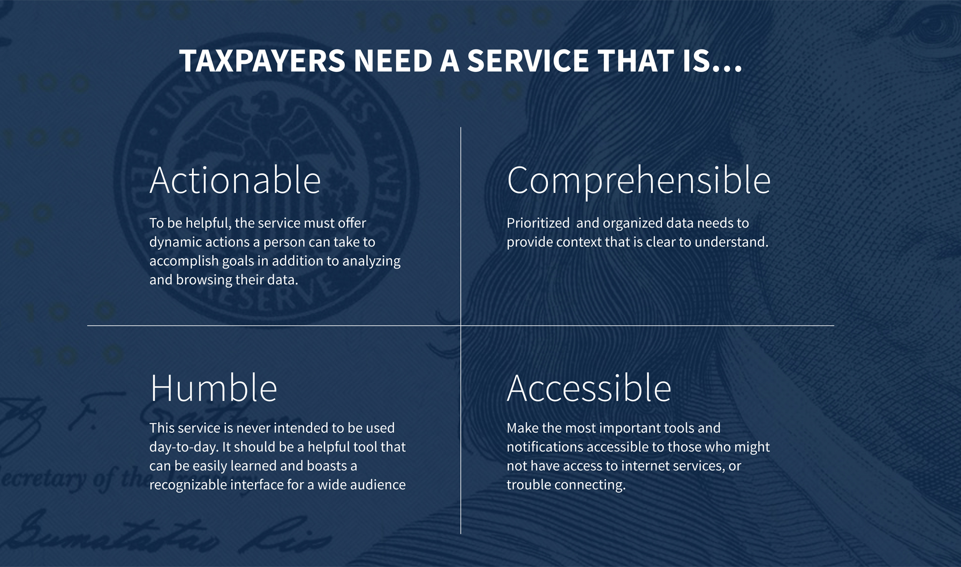 A page from a tax design challenge submission. Taxpayers need a service that is actionable, comprehensible, humble, accessible.