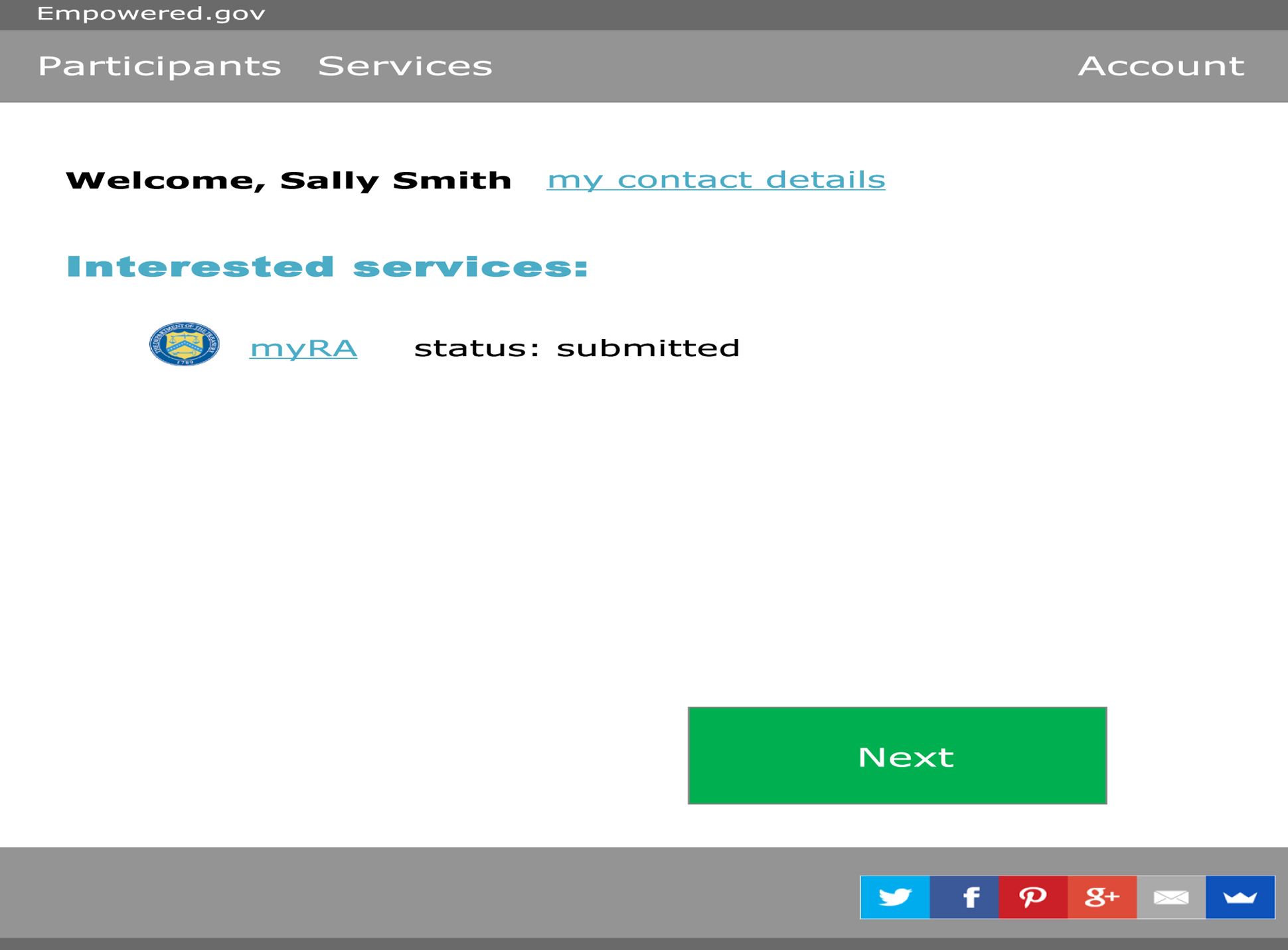 A page from a tax design challenge submission. A welcome screen for Sally Smith. This user has indicated interest in myRA and the status is listed as submitted.