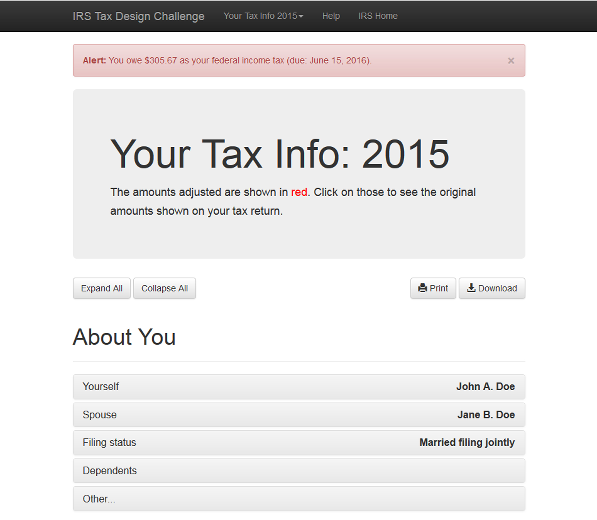 "A page from a tax design challenge submission. A screen shows the user's 2015 tax information. An alert spreads across the top: ""You owe $305.67 as your federal income tax (due: June 15, 2016)."""