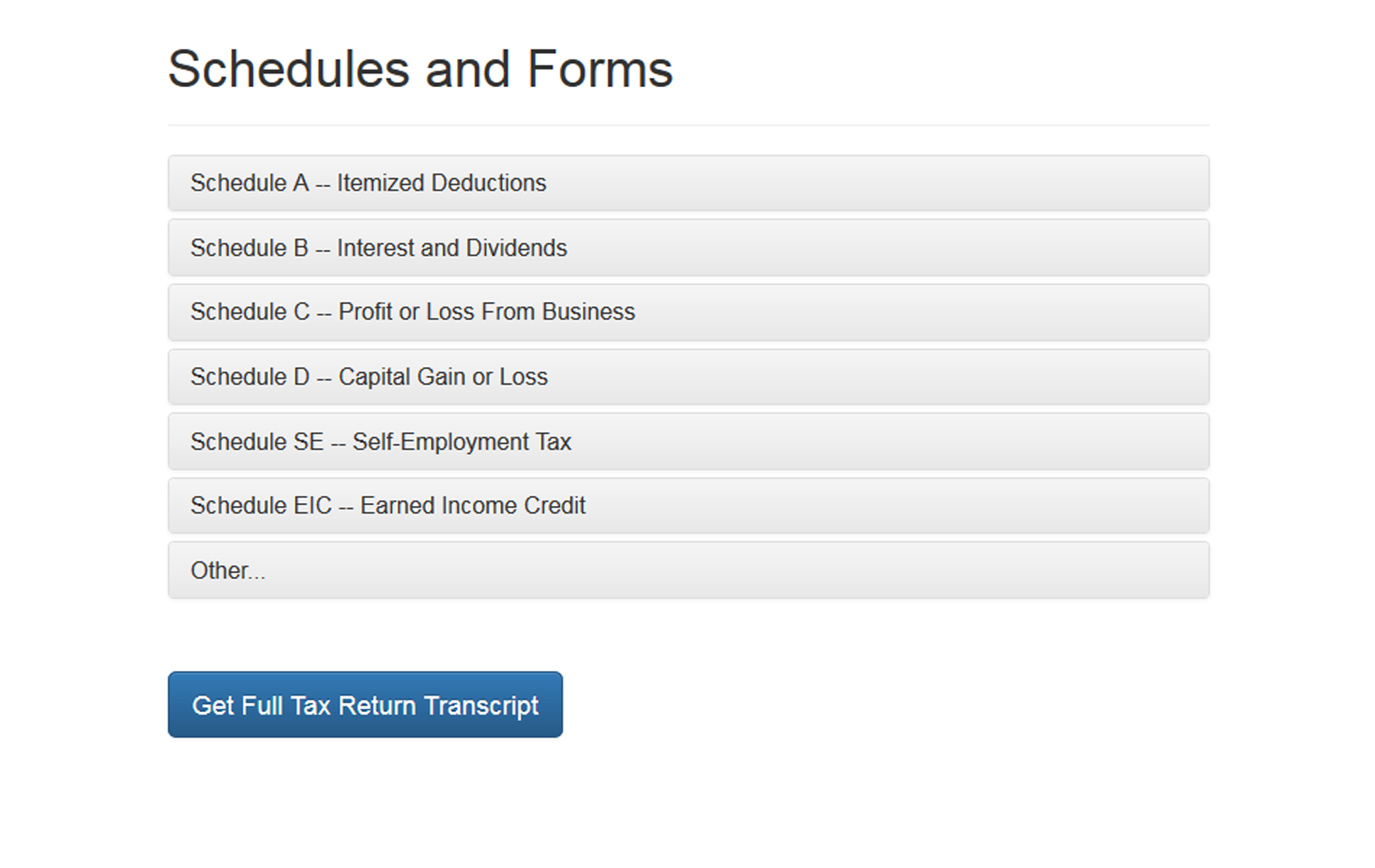 A page from a tax design challenge submission. The page has an accordion listing the titles of schedules and forms.