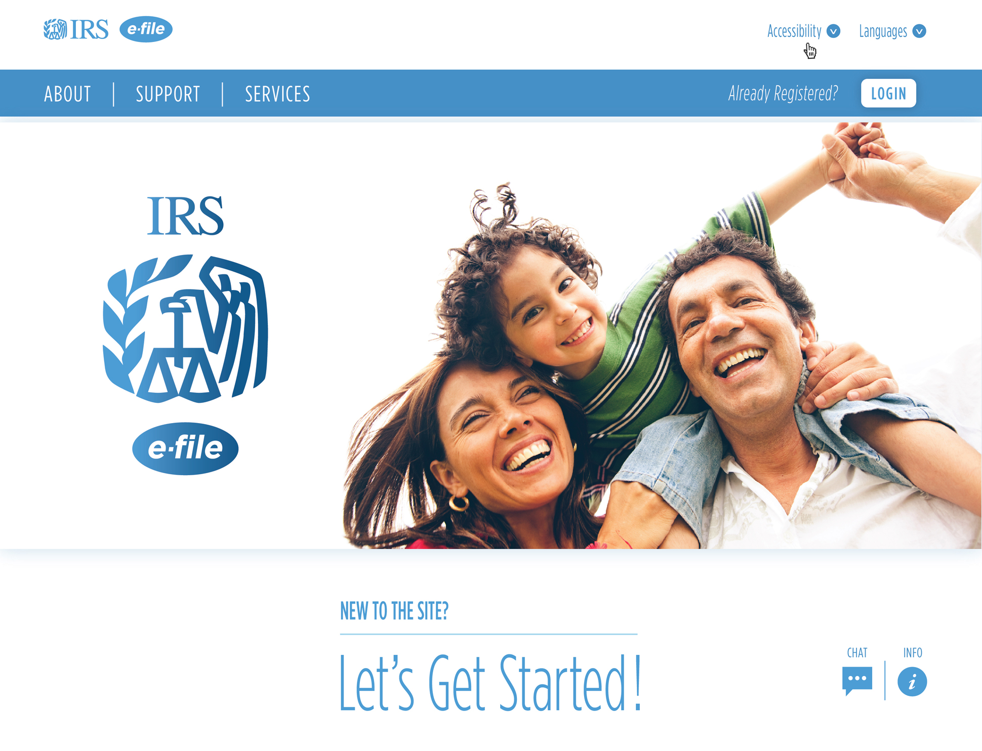 A page from a tax design challenge submission. IRS e-file hero image splash page. A family smiles broadly on the web page.