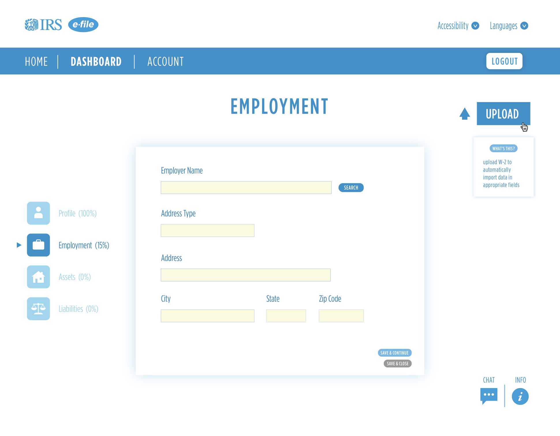 A page from a tax design challenge submission. A series of employment form fields as a user registers and completes their profile.