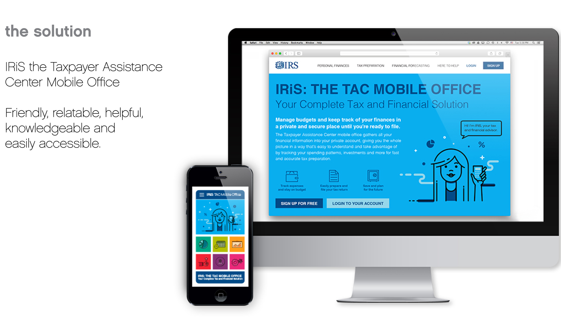 A page from a tax design challenge submission. This page introduces IRiS, the taxpayer assistance center mobile office. A desktop and mobile view are shown.