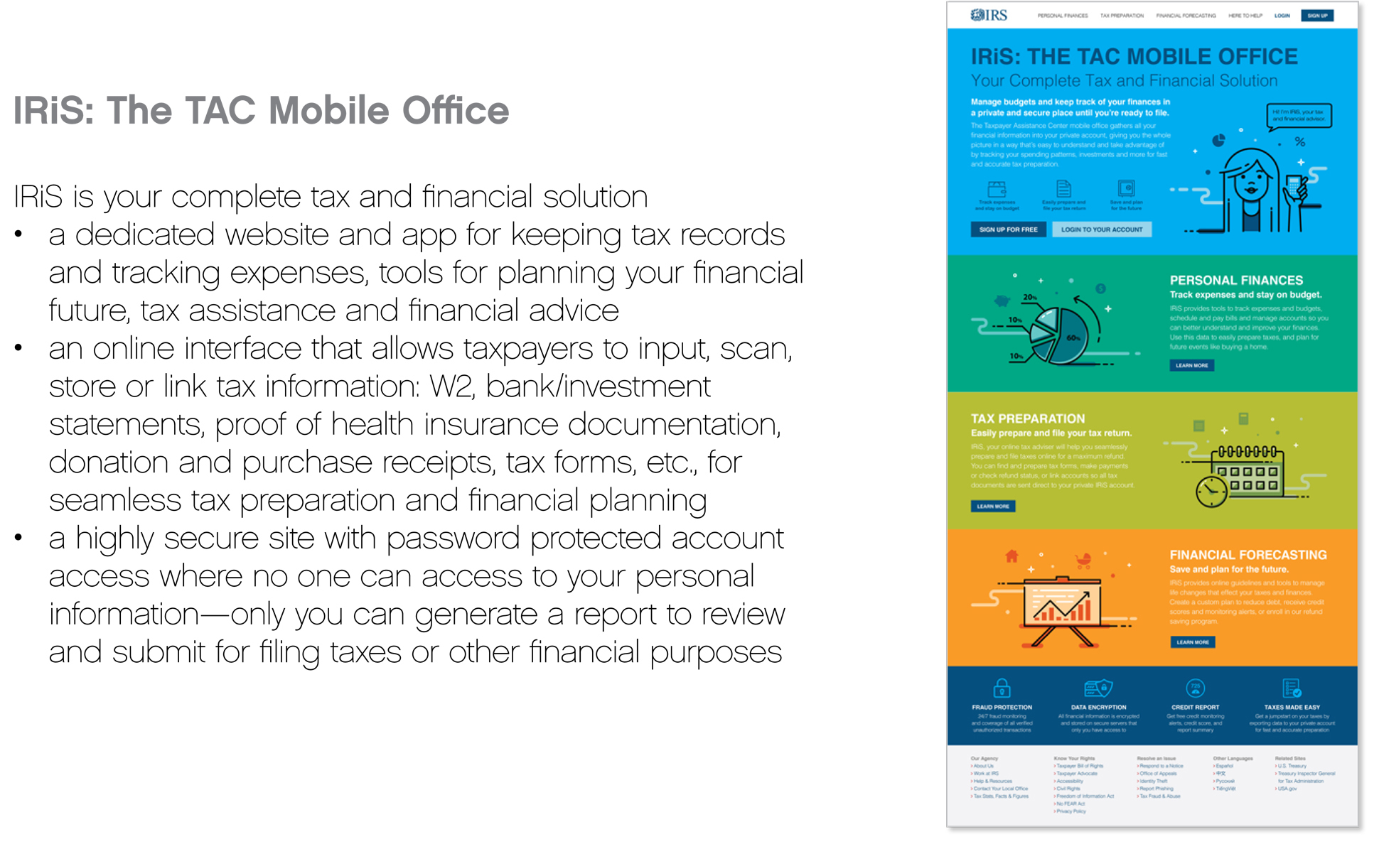 A page from a tax design challenge submission. The desktop is highlighted and key features are listed: personal finances, tax preparation, and financial forecasting.