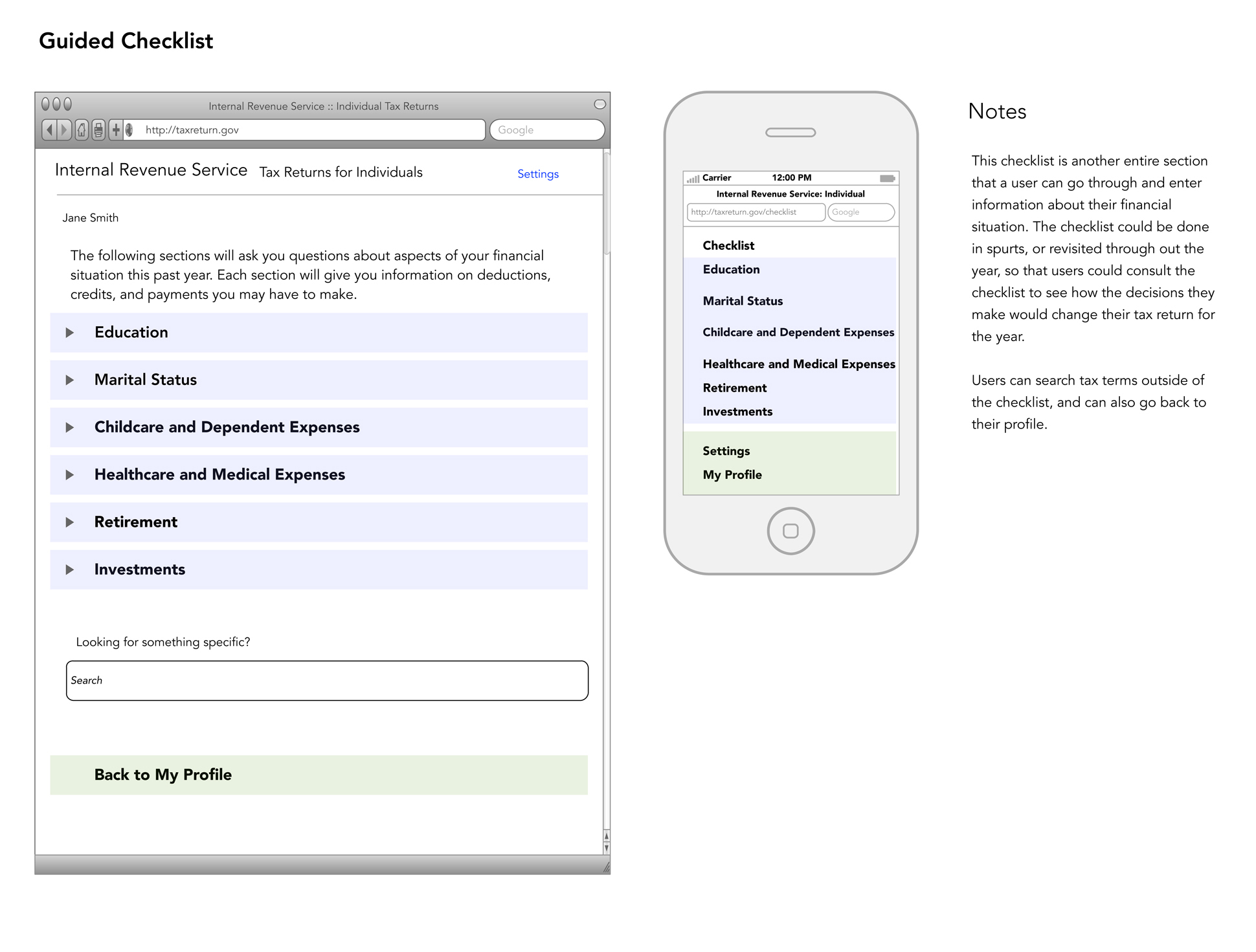 A page from a tax design challenge submission. A guided checklist is shown for both the desktop and mobile view.