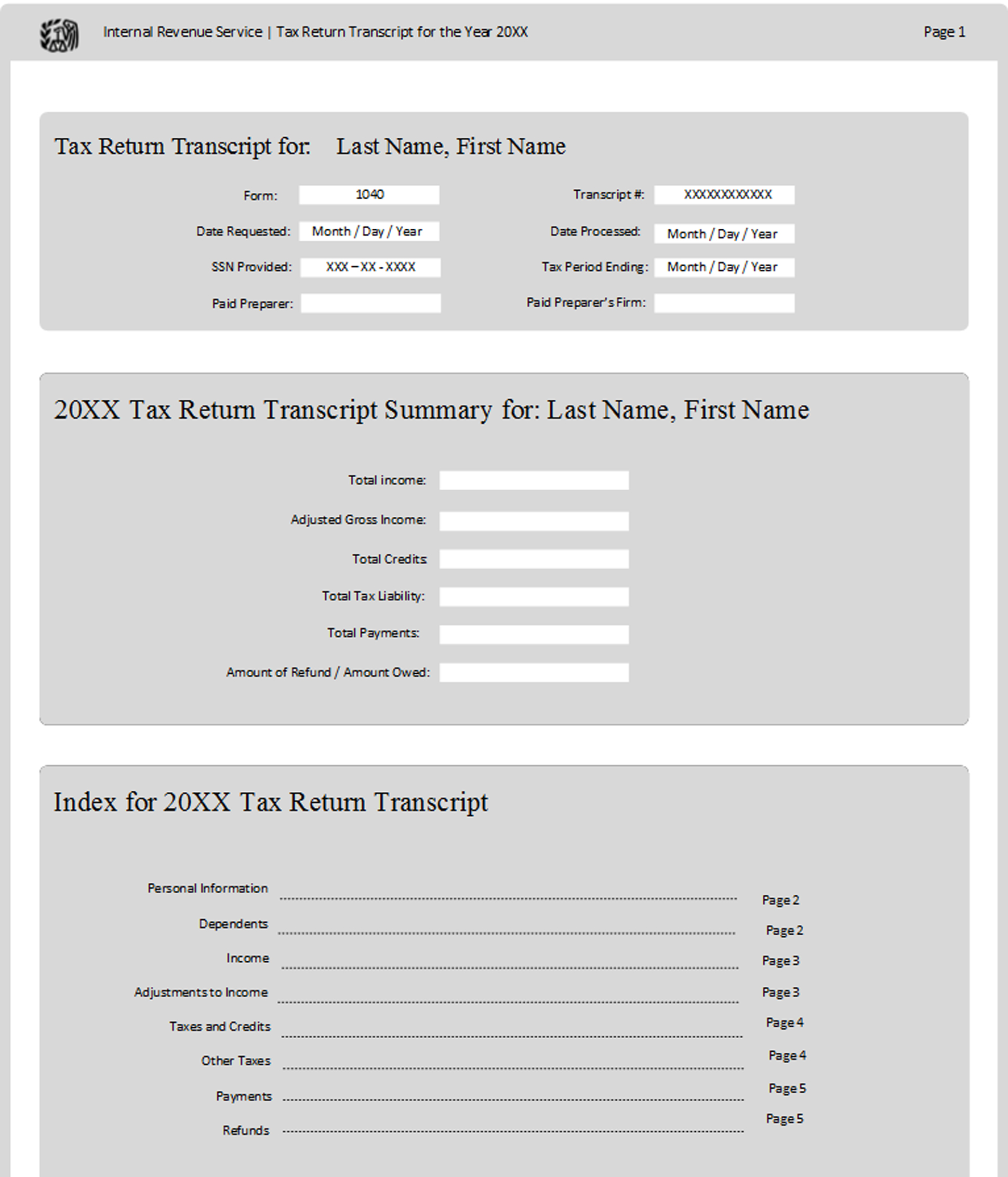 A page from a tax design challenge submission. A tax return transcript request form.