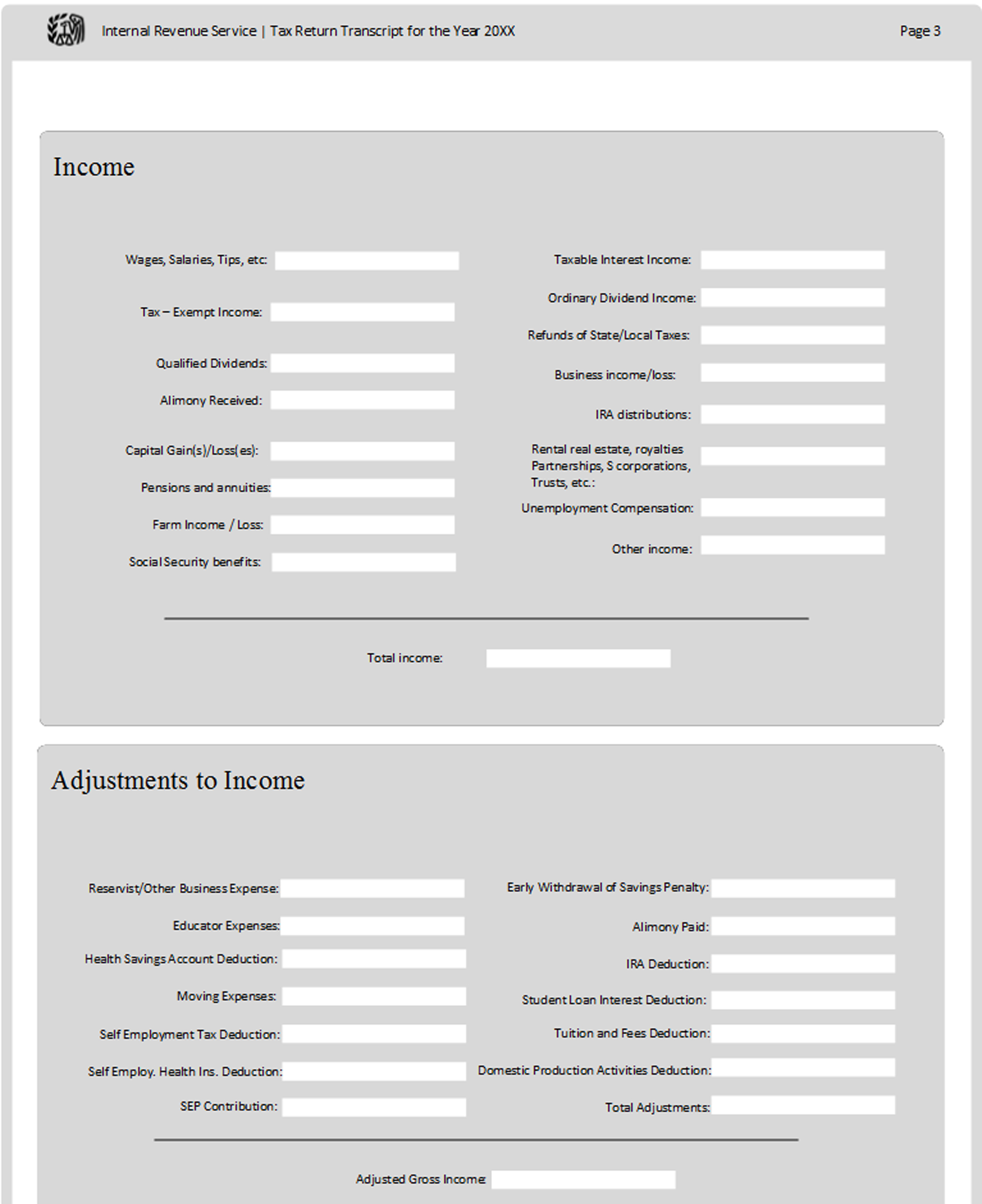A page from a tax design challenge submission. An income form and adjustment to income form are shown.