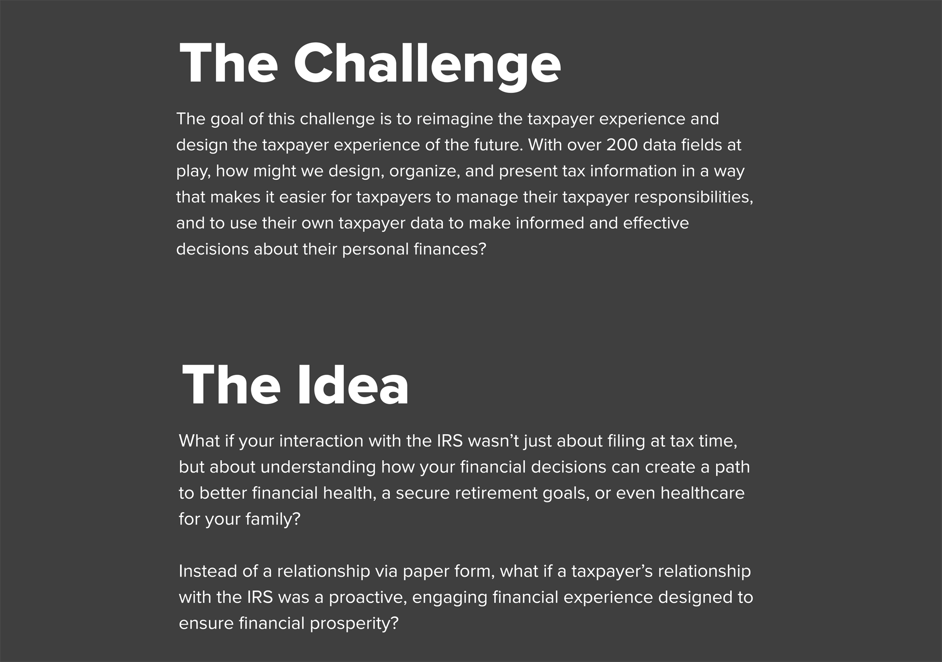 A page from a tax design challenge submission. A summary of the Tax Design Challenge is detailed and the initial submitter's idea.