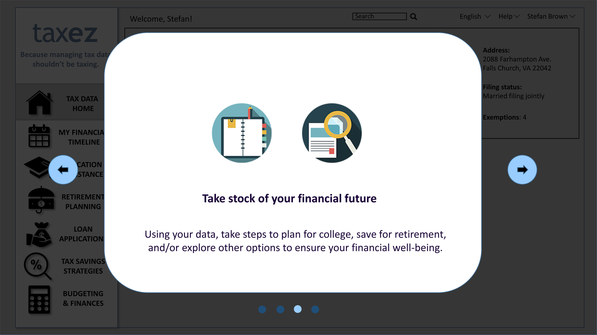 "A page from a tax design challenge submission. Three of four windows in a series of scrolling pop-ups introducing taxez. ""Take stock of your financial future"" is the key description provided."