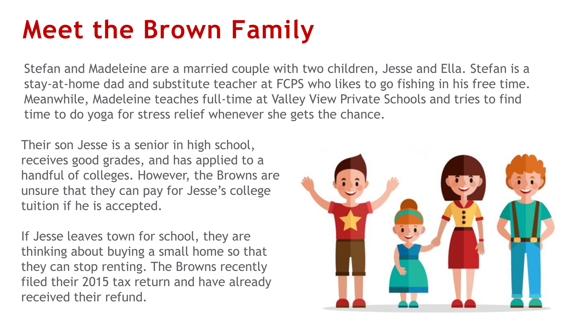 A page from a tax design challenge submission. This page introduces the Brown family who will be using the Taxez application. Stefan and Madeleine are a married couple with two children.