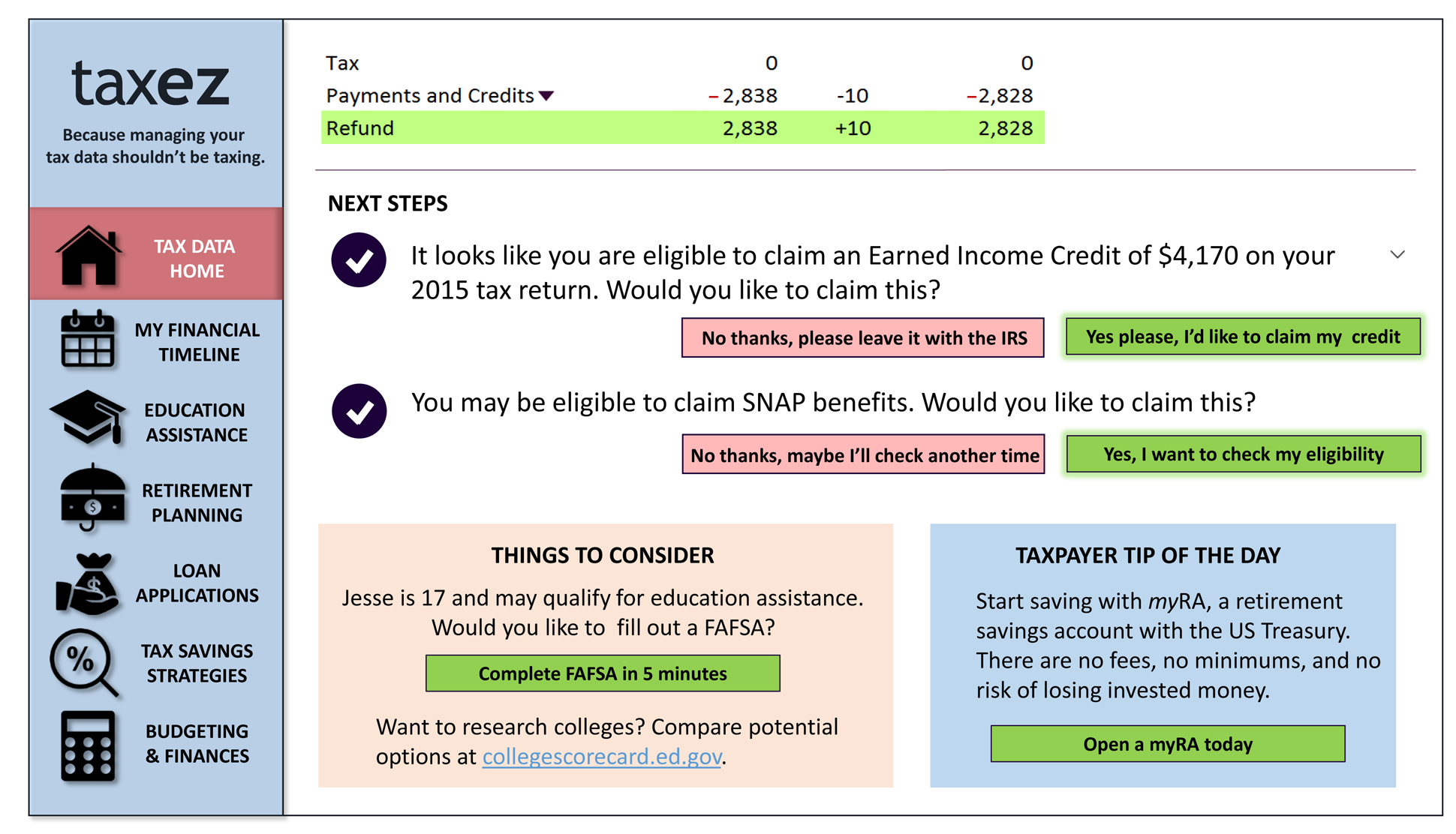 A page from a tax design challenge submission. This page shows next steps after filing a tax return.
