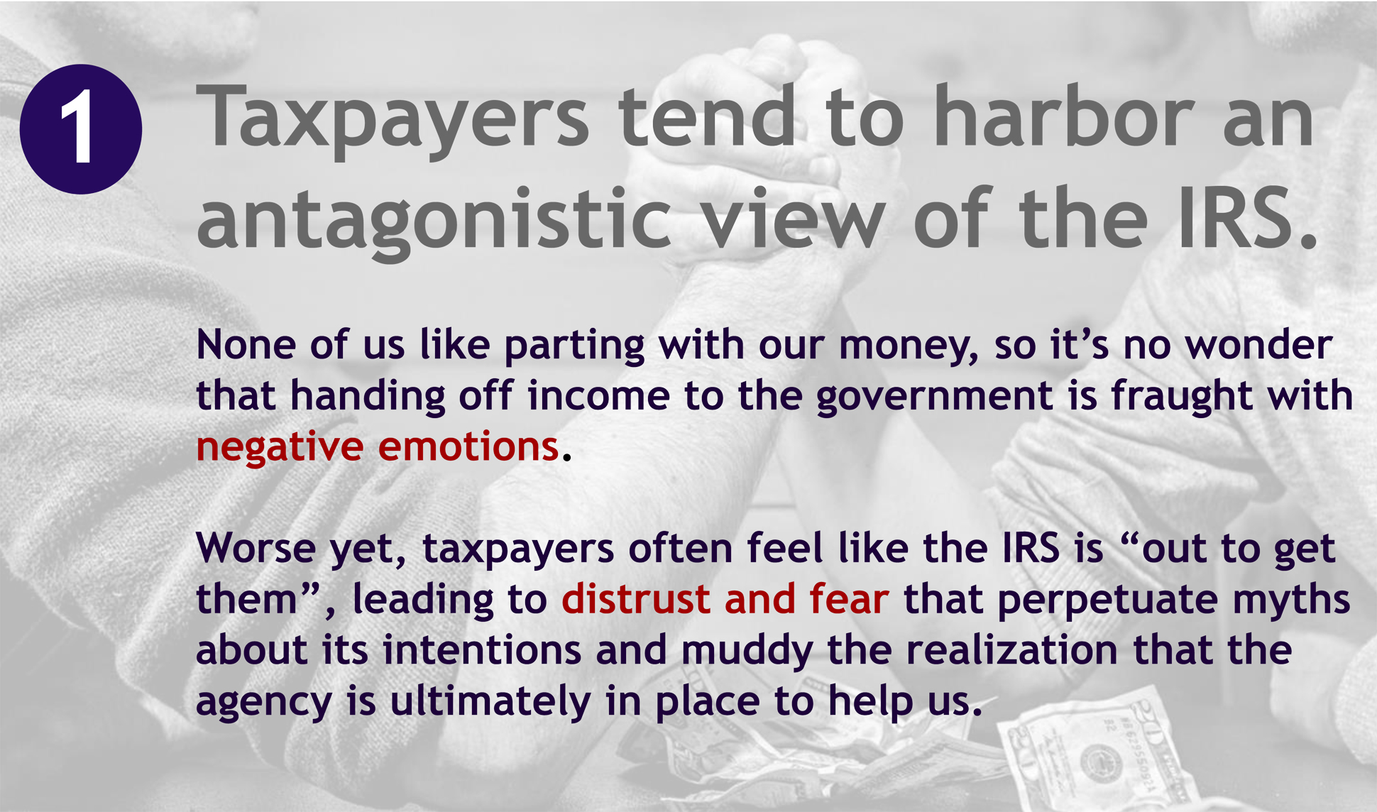 "A page from a tax design challenge submission. A first reason people don't like the IRS is provided by the submitter: ""Taxpayers tend to harbor an antagonistic view of the IRS."""